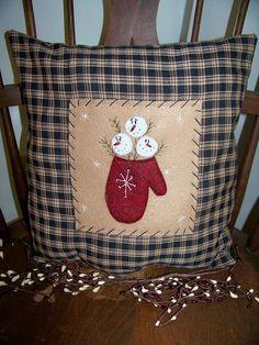 Primitive Snowman Pillow Winter Mitten Snow by wvluckygirl on Etsy, $14.49