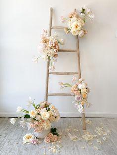 Neutral Floral Installation with Roses, Tulips, & Peonies Wooden Ladder Decor, Wood Ladder, Vs Pink Wallpaper, Aztec Wallpaper, Screen Wallpaper, Light Decorations, Wedding Decorations, Studio City California, Flower Installation