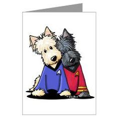 KiniArt Scotty Scotties Greeting Cards (Pk of 10).    © KiniArt - Kim Niles. All Rights Reserved