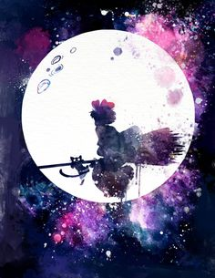 This is a fan art I made for Studio Ghibli's animation Kikis Delivery Service. This is one of my favorite all time animated movies, this piece features Kiki and her cat Jiji flying with her… Cartoon Fan, Wallpaper, Animation, Art, Anime Wallpaper, Anime Movies, Ghibli Art, Fan Art, Watercolor Splatter