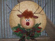 Straw Hat Reindeer Wreath