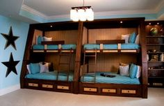 Wood panel Bunk Bed for Four with Blue Matresses and Drawers in Teenage Kids Bedroom Design Ideas