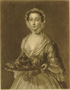 """A young woman shown three-quarter length turned slightly to left, looking towards the viewer, carrying a tea-tray at waist-level, wearing a lace cap attached under the chin after Mercier"". 1744 Mezzotint"