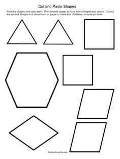 Cut and Paste shapes to make a picture http://www.kidscanhavefun.com/cut-paste-activities.htm #shapes #worksheets #preschool