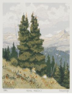 Leon Loughridge Alpine Meadow Woodblock Print 9 X 7 Inches At The
