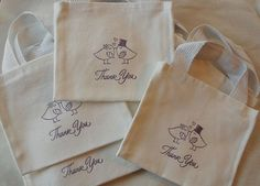 Love Birds Thank You White Cotton Mini Canvas by JennifersCookies -- ADORABLE mini tote bags for wedding favor