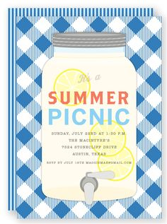 Customizable summer picnic invitations from Folded Words