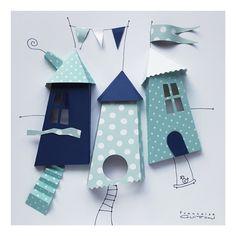 Cabane papier dans cadre vitrine 26 x 26 cm blanc Decoration, Kids Rugs, Home Decor, 3d Paper, Cabins, Wall Art, White People, Decor, Decoration Home