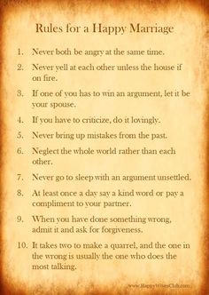 Love Quotes : Rules for a Happy Marriage Happy Wives Club Marriage Prayer, Marriage Relationship, Marriage And Family, Marriage Advice, Love And Marriage, Quotes Marriage, Successful Marriage, Relationship Repair, Strong Marriage