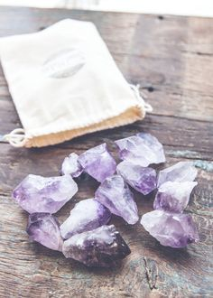 Each bag contains beautiful amethyst gems in varying size, shape, color, quality and clarity, in a SoulMakes pouch adorned with a gorgeous little bell. Amethyst was given it's name by the ancient Gree