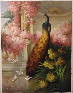 Pink flowers and large peacock in art  Painting  yellow florals and doves in foreground
