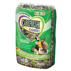 This is Carefresh Crinkles. Carefresh Crinkles are made out of 100% recycled paper. These are also colored with a safe, non-toxic dye. Carefresh Crinkles come in one size, and it is $8.99 (U.S. dollars) This bedding comes in three colors: crinkles, forest, and mardi gras. Carefresh Crinkles bedding is not soft at all, and it can be very hard on your pet's feet. I don't suggest getting this bedding.