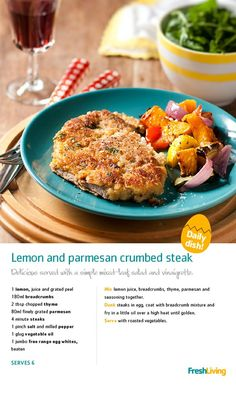 Lemon and Parmesan Crumbed Steak South African Dishes, South African Recipes, Beef Dishes, Fish Dishes, Meat Recipes, Group Recipes, Recipies, I Love Food, Quick Meals