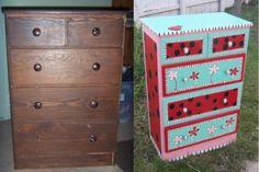 DIY repainted little girls dresser. Painted by Kileigh Snow Kline