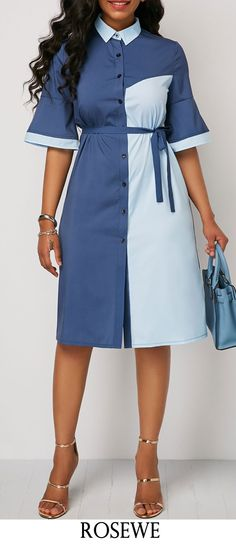 Belted Color Block Button Up Dress.#Rosewe#dress#shirtdress