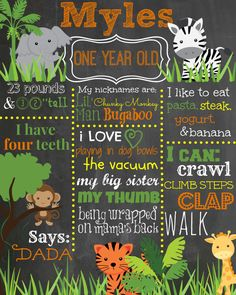 Custom First Birthday Colored Chalkboard Poster/ Invitation - Birthday Sign - Safari Theme - Jungle Birthday - Lion, Monkey, Tiger, giraffe on Etsy, $21.00