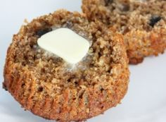 Bran Muffins (excellent)  Ingredients:  1 cup wheat bran   1 - 1/2 cups whole wheat flour   1/2 cup raisins   1 teaspoon baking powder   1 teaspoon baking soda   3/4 cup milk   1/2 cup molasses or honey   2 tablespoons oil   1 egg, beaten   1/4 cup walnuts, chopped    Preheat oven to 400ºF.    Stir together the bran, flour, soda and baking powder. Stir in raisins and set aside.  Blend the milk, molasses, oil and egg. Add to the dry ingredients and mix just until moistened.