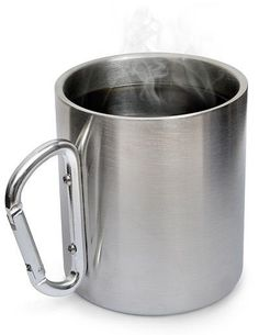 Stainless Steel Carabiner Mug... must have, a nonsense 'man' item... otherwise just slap one on your camp/hike mug...