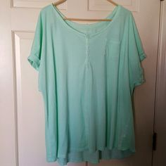 Short sleeve light weight cotton knit This light green knit top will keep you cool all summer long Lane Bryant Tops Tees - Short Sleeve