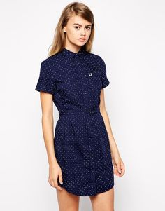 $146, Spotty Shirt Dress by Fred Perry. Sold by Asos. Click for more info: http://lookastic.com/women/shop_items/209572/redirect
