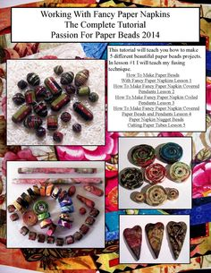 How To Make Paper Beads With Fancy Paper Napkins Lesson 1