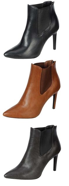 Breckelle's Baylee-11 high heel Chelsea ankle booties vegan Sexy retro inspired Chelsea booties with pointy toes in black, gray, or tan vegan leather on 4 inch high stiletto heels from Breckelle's, style Baylee-11.  Feature heel zippers for on and off and cushioned insoles.  All man-made materials (vegan). New in box.