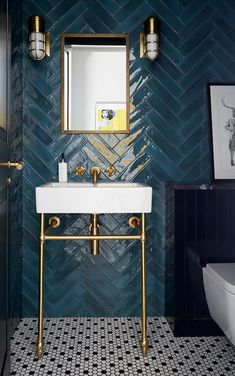 St John's Wood Detached Villa – Turner Pocock – Bathroom Inspiration Dark Bathrooms, Beautiful Bathrooms, Modern Bathroom, Small Bathroom, Art Deco Bathroom, Bathroom Ideas, Master Bathrooms, Green Tile Bathrooms, Tiled Walls In Bathroom