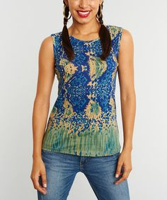 Look what I found on #zulily! Green & Royal Blue Abstract Sleeveless Top by Miss Nikky #zulilyfinds