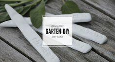 Ideen für den Garten, die Terrasse und den Balkon, Gartendeko Ideen und Infos, wie ihr Blumenschilder aus Fimo selber machen könnt, findet ihr hier.