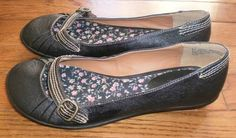 WOMENS sz 6.5 MOSSIMO brown FLATS shoes SLIP-ONS MARY JANES floral-lined SWEET!