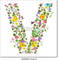 Letter V spring flowers and - Artwork  - Art Print from FreeArt.com
