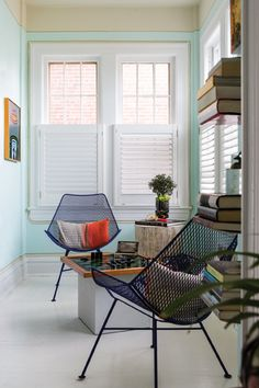 The game room features a similar treatment in Light Mint by Behr.