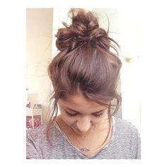 Andrea Russett hair | Hair | Pinterest | Messy Buns, Cute Messy Buns... ❤ liked on Polyvore featuring beauty products, haircare, hair styling tools, hair and buns