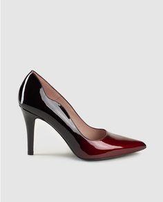 Zapatos de salón de tacón de mujer de charol granates