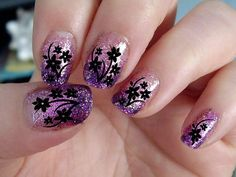38 Black CHERRY BLOSSOMS / DAISIES Nail Art Decals Professional Results Waterslide - not Vinyl or Stickers on Etsy, $4.83