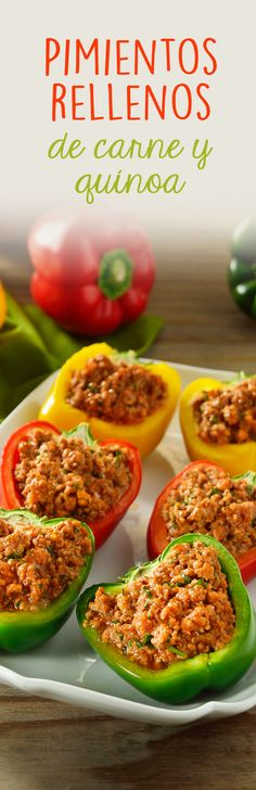 Pimientos Rellenos de Carne y Quínoa Beef Recipes, Mexican Food Recipes, Cooking Recipes, Healthy Recepies, Healthy Snacks, Healthy Cooking, Healthy Eating, Good Food, Yummy Food