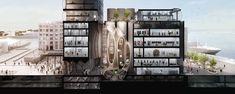 Render seccionado, galería en fabrica con silos abandonados  - Ciudad del Cabo  //  Heatherwick