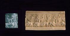 Sceau-cylindre Frise de lions monstrueux et aigles à tête de lion Époque d'Uruk Jaspe vert Conservation: MdL