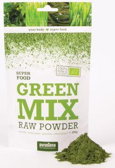 purasana GREEN MIX Super Mix 100 % Raw Powder 200 Gramm