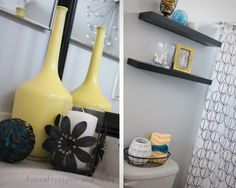 gray+and+yellow+bathroom+pictures | Fit, Crafty, Stylish and Happy: Guest Bathroom Makeover