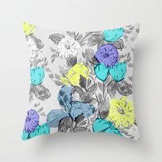 Botanical Flower bright Throw Pillow