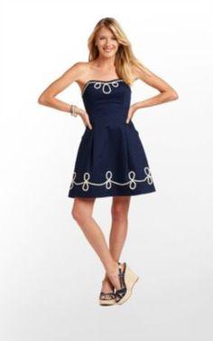 Blossom Dress in True Navy Anchor Jacquard