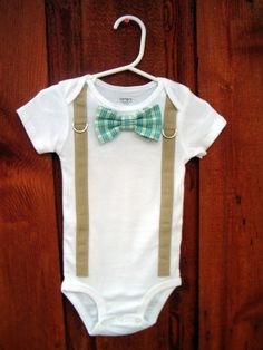 Baby Boy Bowtie & Suspender Onesie or shirt Blue by shopantsypants, $18.00
