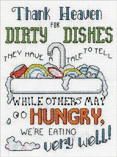 Everything Cross Stitch - Dirty Dishes Counted Cross Stitch Kit