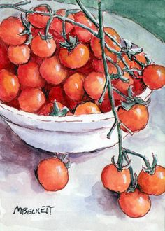 ACEO Original Painting Cherry Tomatoes garden fruit vegetable food vine red  #Impressionism