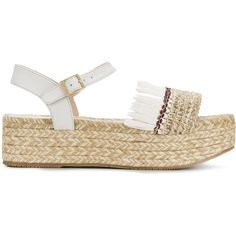 Paloma Barceló fringed platform sandals (€190) ❤ liked on Polyvore featuring shoes, sandals, white, white sandals, white leather sandals, leather fringe shoes, leather platform sandals and platform shoes