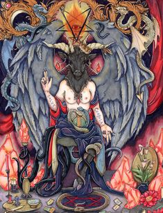Baphomet - The Goat of Mendes Commissioned on etsy. Complete with dragons, glowing rocks, and more occult references than you can shake a stick at. Baphomet, Dark Fantasy, Fantasy Art, Goat Of Mendes, Satanic Art, Occult Art, Witch Art, Arte Horror, Book Of Shadows