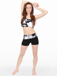 Gold Soul Tie-Dye Foldover Yoga Shorts $ 17.00  NKP1161  -Moisture Management: Draws sweat away from your skin to keep you dry  -Seamless: 4way stretch for easy movement. 3d seamless knitting technology for added comfort  -Stretch Fit  -Active wear  92% Airjet Texturized Nylon  8% Spandex