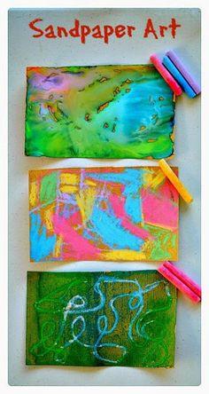 Art activities for kids : Sandpaper Art done 3 ways! http://www.blogmemom.com/art-activities-for-kids-sand-paper-art13169/