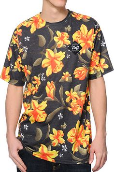Neff Commando Floral Print Charcoal Sublimated Tee Shirt at Zumiez : PDP